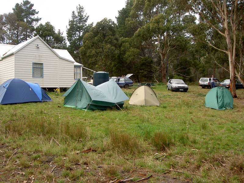Tents in front of the shack
