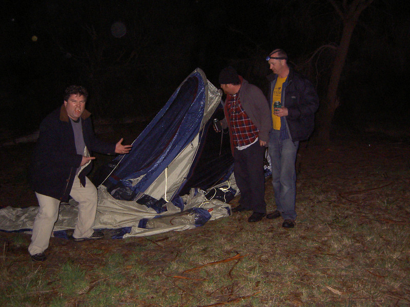 Don's tent collapsed