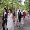 Bride and groom leading the wedding procession at the Arboretum, Seattle,WA