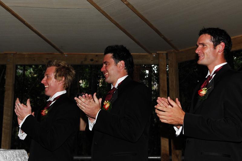 Simon, Luke and Ian congratulate the couple.