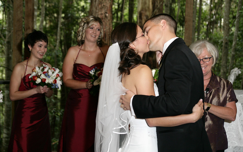 "Seal it with a kiss. Shane and Lisa embrace after being pronounced ""Man and Wife"""