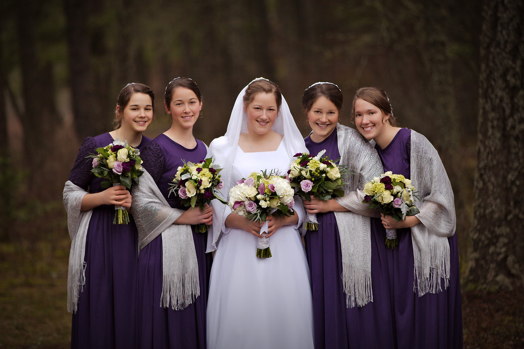 Liz and her brides maids in the woods