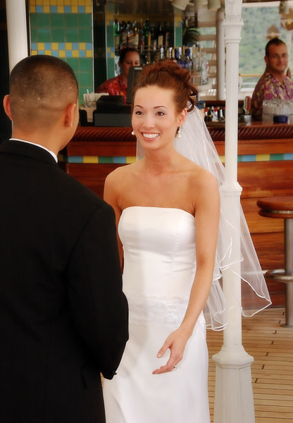 Bride and groom seeing each other for the first time before the wedding.