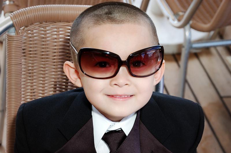 Dominick wearing Sam's (Didi) sunglasses.