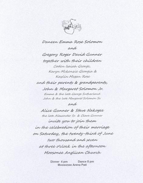 Wedding Invitation of Daneen Solomon and Greg Gunner