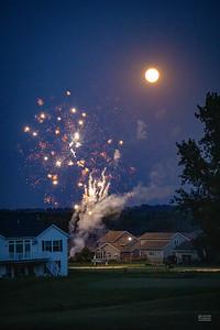 Fireworks under the Buck Moon.
