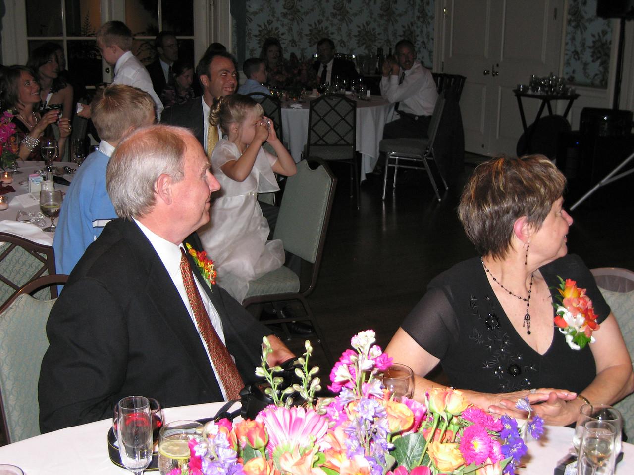 Heather's parents watching the dance floor