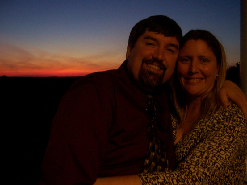 George and Holly, with a beautiful sunset behind.  Great end to a great day!