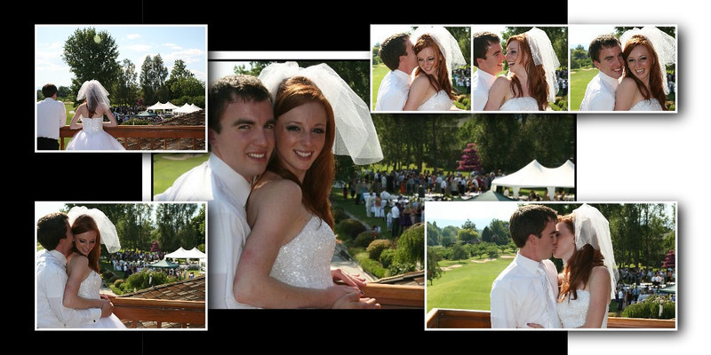 Bride and Groom on the Balcony at Apple Tree Golf Course