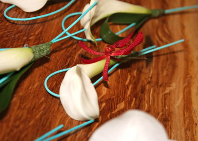 Exotic buttonholes at a wedding at Dairy Barns