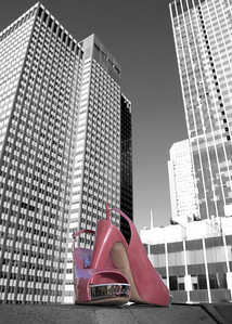 Fab pink bridal shoes with a New York skyline