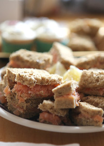 Salmon sandwiches at a brides parents house for a wedding ceremony at Bury Cathedral followed by a wedding reception at Haughley Park Barn
