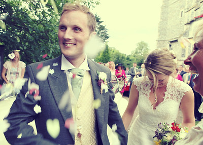 Confetti at Ixworth Church on a wedding day