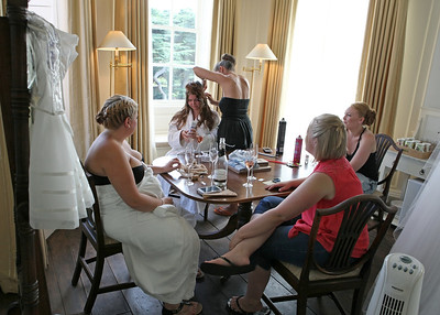 Getting ready in the Tapestry Room at Spains Hall on a wedding day