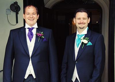 The Groom and Bestman before his wedding ceremony in the Elizabethan Hall at Spains Hall