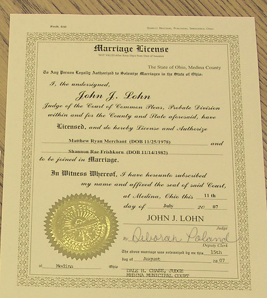 Civil Ceremony - Marriage License