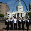 """Jefferson National Expansion Memorial (""""Gateway Arch"""") in the background<br /> Greg and the groomsmen"""