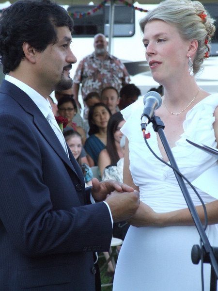 Pure emotion after the vows and exchange of wedding rings.