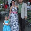 Family members at the reception, with a beautiful gown.