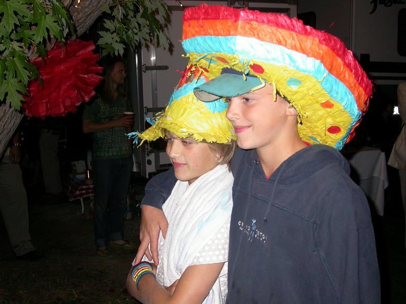 Pinata festivities during the evening.