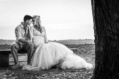 Bride and Groom on a bench overlooking the ocean – Carly and GT's La Selva Beach wedding by  Bay Area wedding photographer Chris Schmauch http://www.bayareawedding.photography