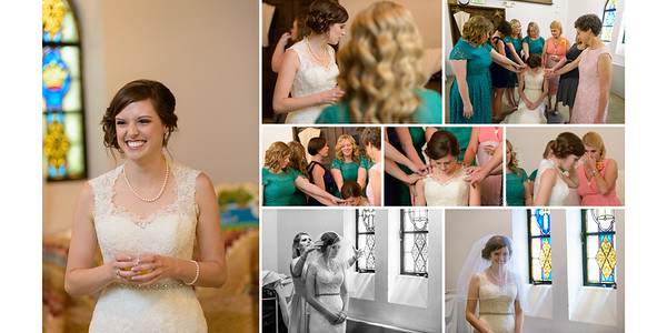 Bridesmaids and Mom Touching Bride and Praying to God