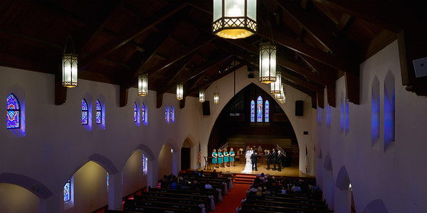 Wide View of Church Wedding Ceremony from Balcony