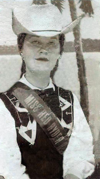 Connie Bramwell - Miss Red Ryder Round-up 1956. age 15.<br /> (Photo repaired by cousin, Beverly Turner-Leas.  Thank you Beverly!  What a save!)