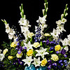 Flowers, symbolizing among other meanings beauty, expectation, love, and purity, adorn the church sanctuary.