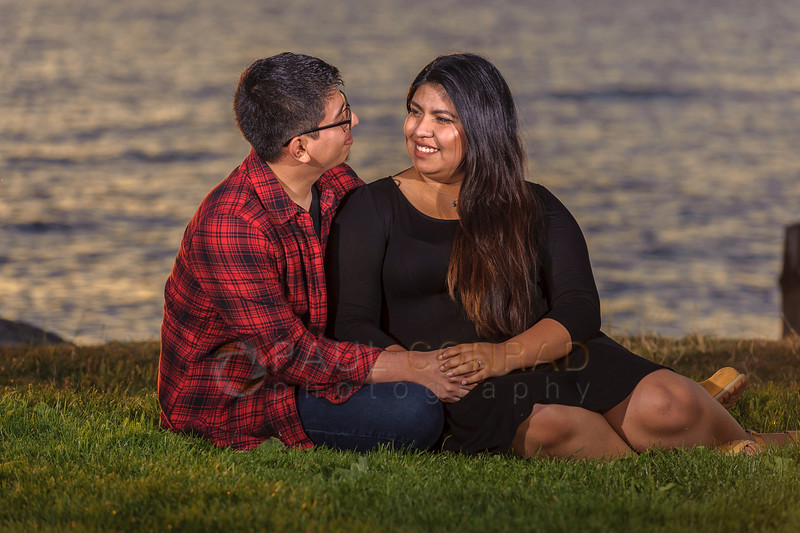 Happy Couple - Alex and Rose during their engagement session at sunset on Sunday evening Aug. 14, 2016, at Boulevard Park in Bellingham, Wash. (© Paul Conrad/Paul Conrad Photography). Bellingham wedding photographer, whatcom county wedding photography, pacific northwest wedding photography, seattle wedding photography