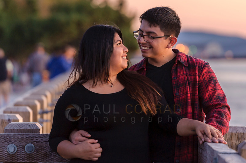 Happy Couple - Alex and Rose during their engagement session at sunset on Sunday evening Aug. 14, 2016, at Boulevard Park in Bellingham, Wash. (© Paul Conrad/Paul Conrad Photography). Bellingham wedding photographer, whatcom county wedding photography, pacific northwest wedding photography seattle wedding photography