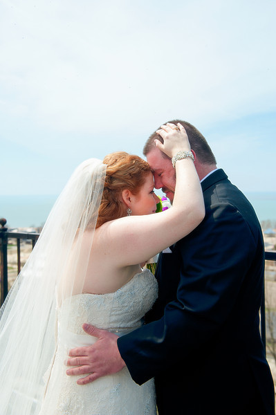 Bride and groom, first look