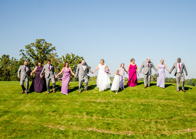 Riess wedding party on hill
