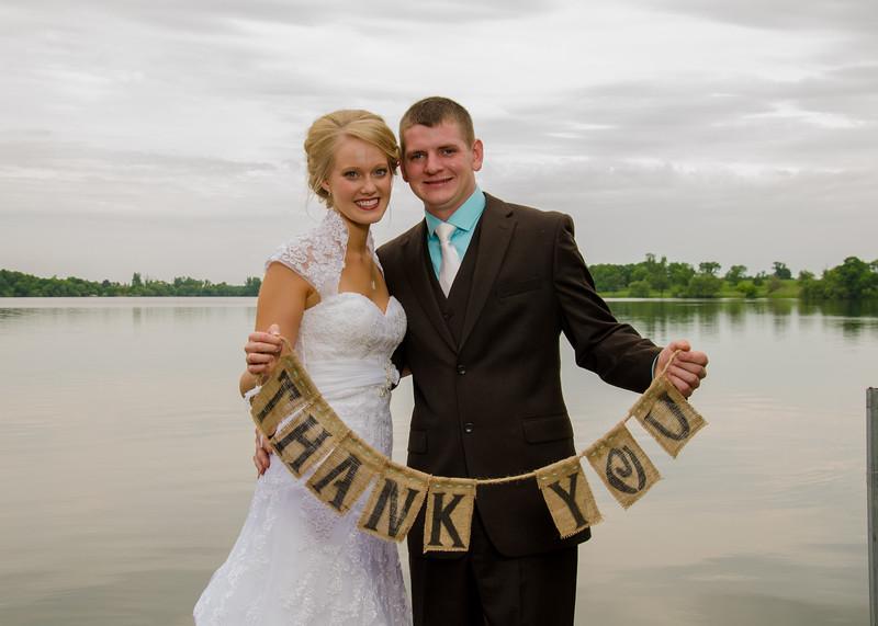 Bide and groom thank you on dock
