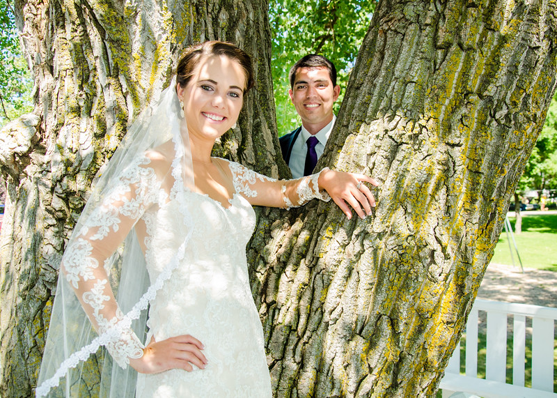 Zamora wedding bride in front of tree
