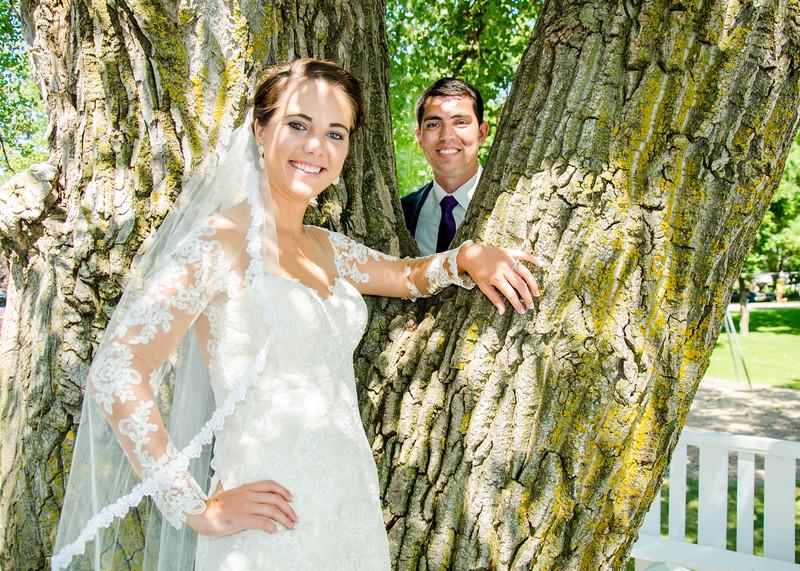 Zamora wedding bride in front of tree