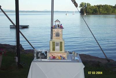 wedding cake with lake view