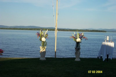 flowers on lake by ceremony