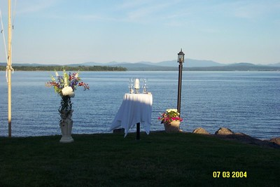 ceremony table on lake