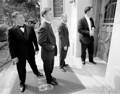 Groomsmen, waiting for the church to open