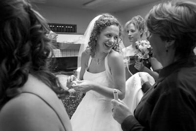 Eva shares a laugh with her bridesmaids