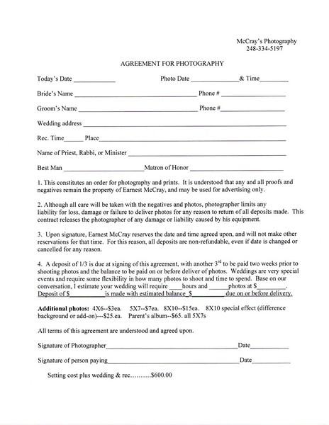 Wedding Price & Contract