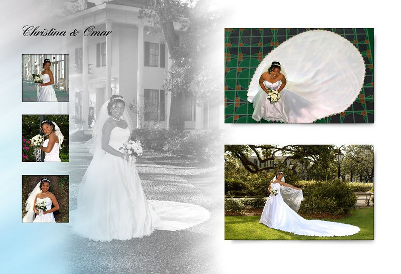 GOLDEN ELITE BRIDAL DREAM BOOK PACKAGE - $5700<br /> Up to 8 hours of photography on wedding date; no travel fee to wedding/reception destination in United States<br /> 3 hour engagement on location or studio session; 5 hour on location or studio bridal session <br /> 1 (24x36) canvas banner from bridal or engagement session (displayed at wedding or reception entrance)<br /> 1 framed 18X24 from bridal or engagement session (for display on wedding day)<br /> 1 framed 24x36 from bridal or engagement session (for display on wedding day)<br /> 4 color and 4 B&W 5x7's of 4 selected images from engagement session (newspaper)<br /> 4 color and 4 B&W 5x7's of 4 selected images from bridal session (newspaper)<br /> 1 (9.5x13) printed wedding book with metal cover and 60 pages (up to 125 images)<br /> 2 (6X8) parent book copies (hardback with paper jacket cover)<br /> 30 (2.5x4) mini soft back book copies<br /> 300 bookmarks from bridal or engagement session (for display on wedding day)<br /> 1 (8 pocket) portfolio from bridal session (for display on wedding day)<br /> DVD slideshow of 150 images from wedding (you may copy and distribute slideshow)<br /> 50 (4x6) + 10 (8x10) prints from wedding/reception (usually printed at viewing appointment)<br /> 150 photos loaded to website<br /> 1 (5x7) for each wedding party member and then guest for up to 50 people (possibly developed at reception)