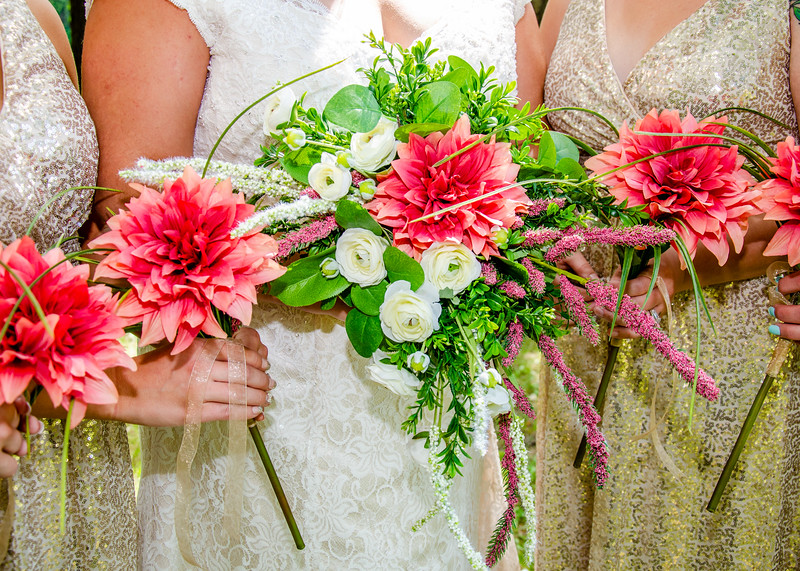 Bridal Parties Pink and white flowers
