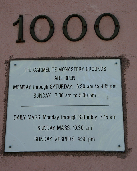 Hours at Lincoln St. gate at Santa Clara's Carmel of the Infant Jesus chapel