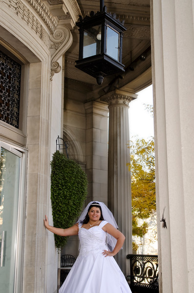 Bride portrait outside of the Rotunda Waukesha.