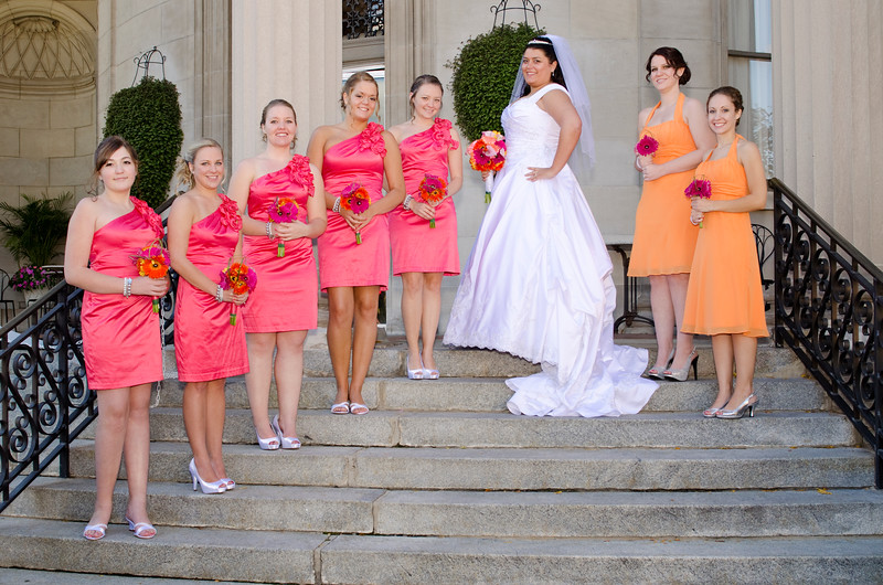 Bridal party on the steps of the Rotunda Waukesha.