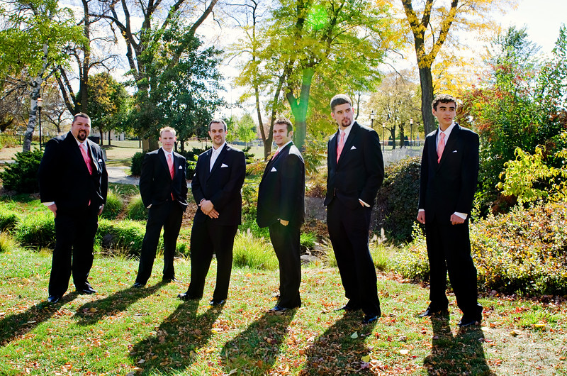 Casual posing of groomsmen at Frame Park Waukesha.