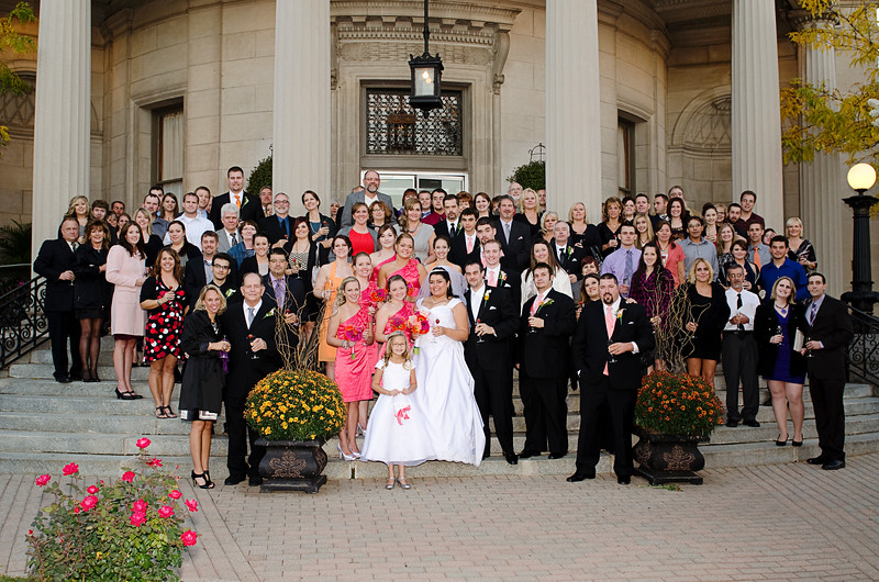 Group wedding photo on the steps of the Rotunda Waukesha.