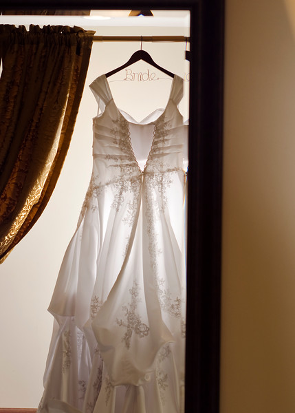 Detail photo of wedding dress.